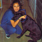 Meet a member of our dedicated veterinary staff- Jennifer - Kennel Attendant & Vet Assistant, with doggy friend. Jennie loves animals, switching hats to do both jobs at Center-Sinai Animal Hospital.