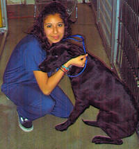 Kennel Attendant and Vet Assistant Jennifer with Doggy Friend.
