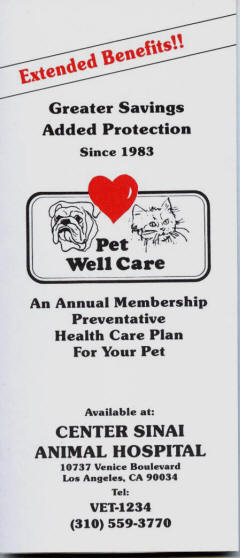 Pet Well Care, Center-Sinai Animal Hospital's own insurance to help you keep your pets healthy and save you money on preventative and ongoing pet health needs