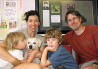 The Cabots Melette Mattew and kids Luc Sophie with Mario doggy foster